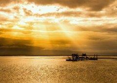 阳光照在波光粼粼的湖面上仿佛像什么